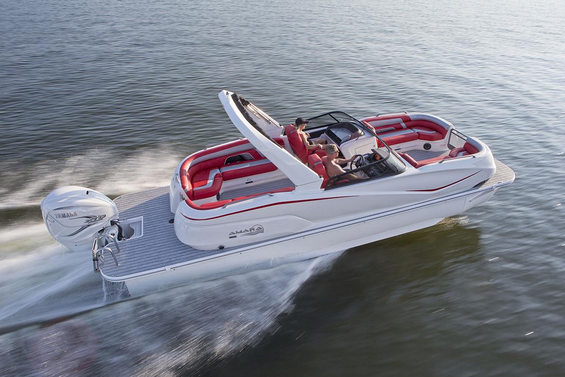 SunCatcher Pontoons by G3 Boats 2020 Amara White Red Combo Running